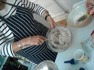 Gilly making Aunty Mary's Super Soda Bread