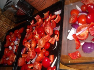 Tomatoes peppers onions garlic